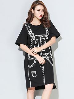 Simple Design Print O Neck Slit Casual Dress