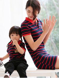 Online Korean Striped Girls T Shirt& Mother Dress