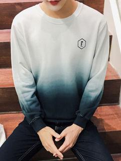 Fashion Gradient Color Crew Neck Hooded Sweatshirt