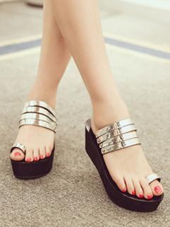 Summer Casual Metal Style Platform Women Slipper