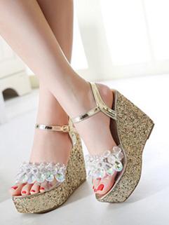 Fashion Diamond Design Wedge Women Sandal