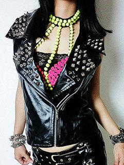 New Arrival Rivet Leather Woman Coat Design