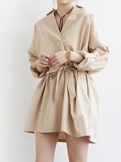 Fashion V Neck Bow Lack-up A Line Dress