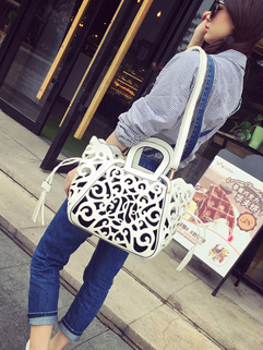 Wholesale Vintage Hollow Out String Handle Bag