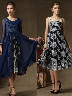Wholesale Vintage Floral Print Long Two Pieces Dress