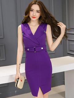 Korean OL Style V Neck Slit Women Dress