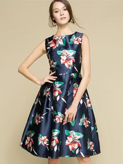 Elegant Floral Printed Sleeveless Formal Beautiful Dress