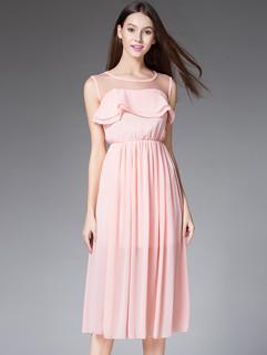 Summer O Neck Pleated Bohemian Long Dresses