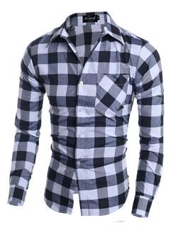 Cheap Wholesale Plaid Turndown Collar Men Shirt
