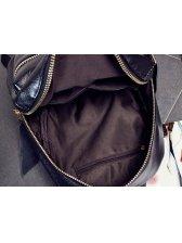 Euro All Match Black Zipper Street Backpack