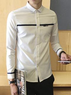 British Style Stripe Decorated Turndown Collar Men Shirt