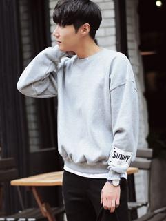 Simple Design Letter Crew Neck Casual Sweatshirt