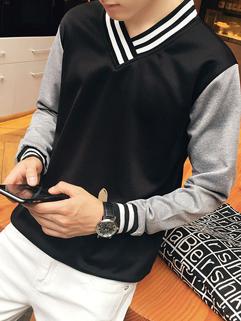 British Style Color Block V Neck Men Sweatshirt