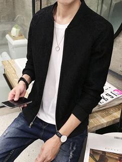 Chic Print Letter Stand Collar Zipper Men Jacket