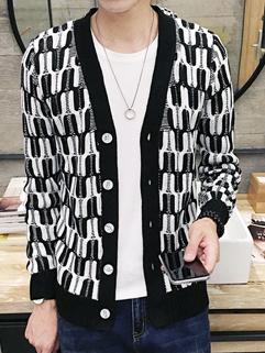 Japan Vintage Plaid V Neck Men Coat