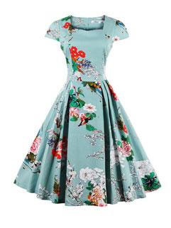 Euro Vintage Print Floral O Neck Pageant Dresses