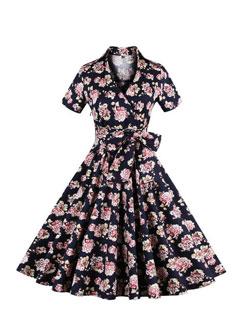 Japan Vintage Floral Print V Neck Long Dresses