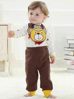 Cute Baby Bodysuit& Slobber Towel With Loose PP Pants