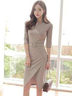 Korean OL Style Crew Neck Slit Fashion Dresses