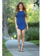Wholesale O Neck Zipper Blue Denim Mini Dress