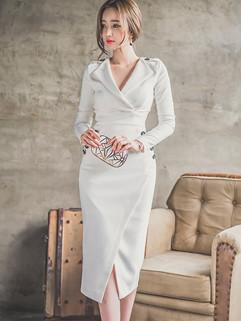 Korean OL Style V Neck White Long Dresses