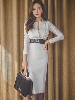 Customized V Neck Body-con White Elegant Dresses