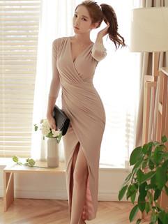 Outlet Sexy V Neck Slit Pink Fashion Dress