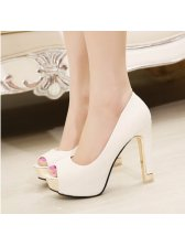 Peep Toe Platform Chunky Heel Fashion Pump