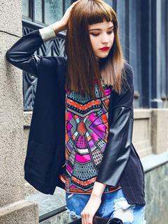 Hot Selling PU Sleeve Black Knitting Cardigan