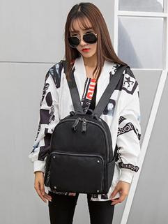 Street Style Black Zipper Fashion Backpack