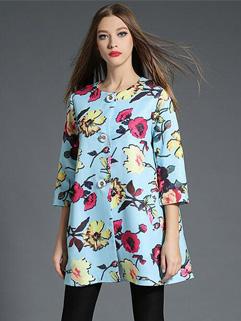 Fall Arrival Print O Neck Loose Coats For Woman