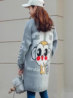 Korean Style Print Long Loose Knitting Coats Cardigan