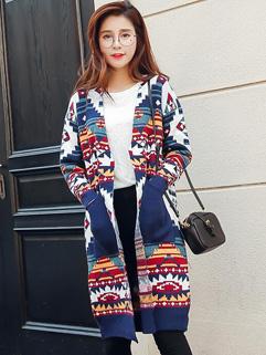 New Design Print Patchwork Knitting Coats Cardigan