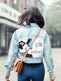 Street Wear Print Turndown Collar Denim Jacket Coats