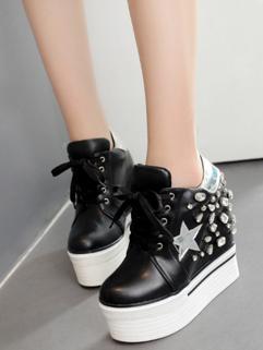 Sports Style Rivet Diamond Wedges Women Shoes