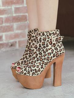 Peep Toe Platform Chunky Heel Fashion Women Ankle Boot