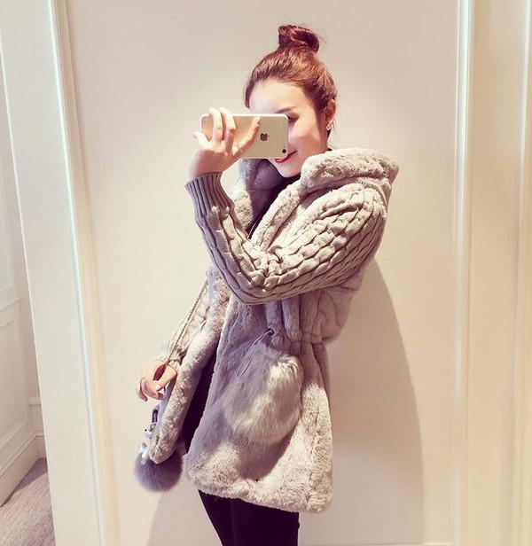 Fashionable Long Sleeve Stuffed Patchwork Knitting Coats