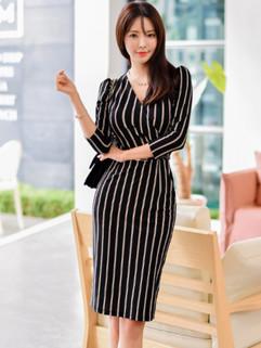 OL Style Stripe V Neck Body-con Pencil Dress