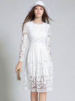 Euro Hollow Out Elegant Lace Dresses
