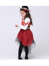 Halloween Vintage Children Patchwork Long Suits Costplay Dress