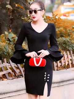 OL Style Flare Sleeve Slit Ladies Dresses