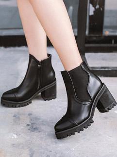 Street Fashion Round Toe Zipper Chunky Women Boots