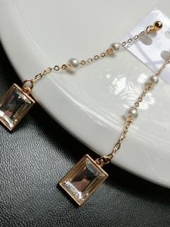 Korean Fashion Pearl Crystal Pendant Earrings