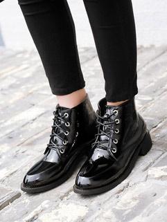High Quality Round Toe Bandage Chunky Women Boots