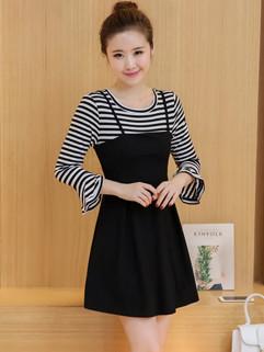 Korean Striped Straps Two Pieces Dresses