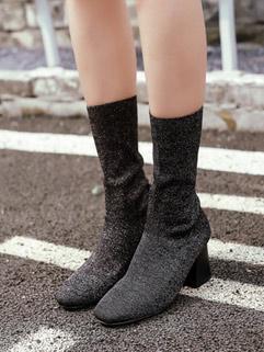 Fashion Sequined Slip On Chunky Heel Martin Boots