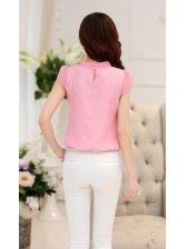 Korean Style Sleeveless Bow Tie Chiffon Blouse Design