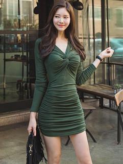 Autumn Elegant Ruched Bodycon Dress