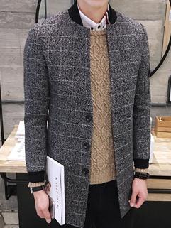 British Classic Plaid Stand Collar Autumn Men Coat