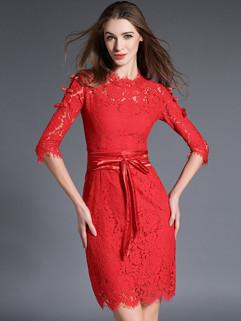 High Quality Fashion Autumn Lace Pencil Dress